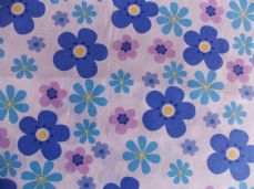 Daisy Large Print Polycotton Fabric in Blue and pink